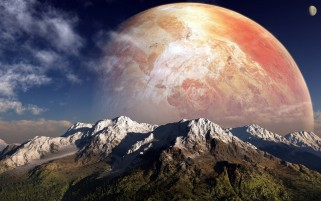 Random: Big Orange Planet & Mountains