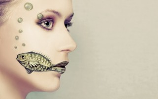 Woman Fish Body Painting wallpapers and stock photos