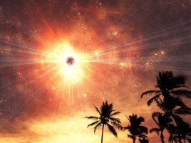 Planet Powerful Shining Palms wallpapers and stock photos