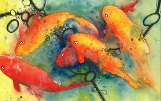 Painting Koi Water Color wallpapers and stock photos