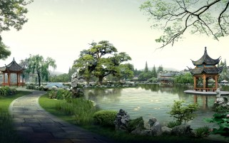 Digital Garden Japan wallpapers and stock photos