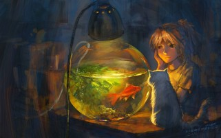 Niño Fish Bowl & Cat wallpapers and stock photos