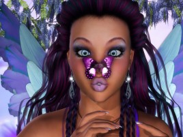 Woman Purple Hair & Butterfly wallpapers and stock photos