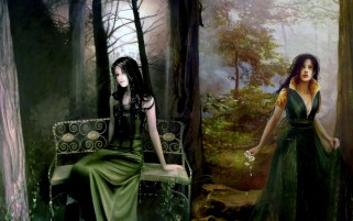 Woman Forest Bench Fantasy wallpapers and stock photos