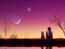 Child Dog Pink Sky Lake wallpapers and stock photos