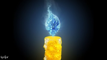 Yellow Candle & Blue Flame wallpapers and stock photos