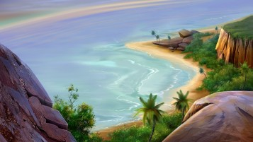 Paradise Beach Artwork wallpapers and stock photos