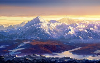 Snow Mountains Painting wallpapers and stock photos