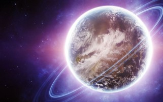 Planet Rings & Purple Space wallpapers and stock photos