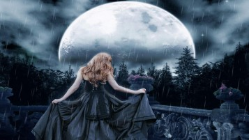 Woman Black Dress Moon wallpapers and stock photos