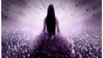 Mujer Purple Hair Campo Vestido wallpapers and stock photos