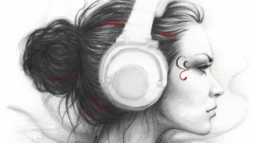 Woman Head Phones wallpapers and stock photos