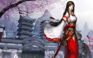 Woman Brunette Kimono Temple wallpapers and stock photos