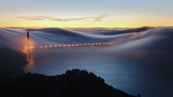 Fog over Bridge wallpapers and stock photos