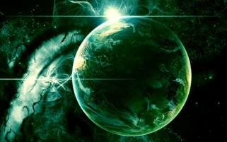 Green Outer Space Planet wallpapers and stock photos