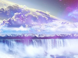 Random: Galaxy Waterfall Mountains Sky