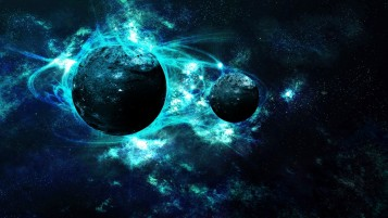 Light Blue Galaxy Planets wallpapers and stock photos
