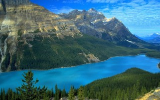 Mountains Forest & Clear Sea wallpapers and stock photos