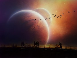 People Walking Evening Planets wallpapers and stock photos