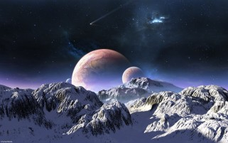 Outer Space & Snow Mountains wallpapers and stock photos
