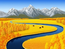 Mountains Yellow Fields Creek wallpapers and stock photos
