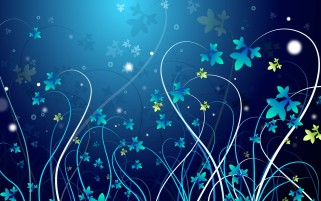 Abstract Blue Flowers Linien wallpapers and stock photos