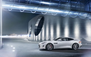 2014 Jaguar F-Type R Coupe Polaris White Static Side Angle wallpapers and stock photos