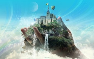 Fantasy Castle Hand Surreal wallpapers and stock photos