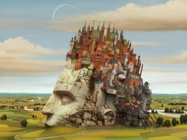 Head Town Fields Surreal wallpapers and stock photos