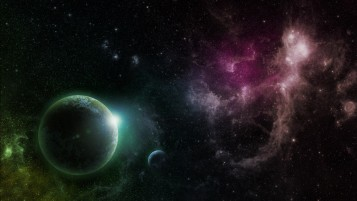 Random: Purple & Green Galaxy Planets