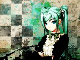 Anime Girl Green Hair Cross wallpapers and stock photos