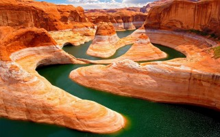 Canyon & Green Water wallpapers and stock photos