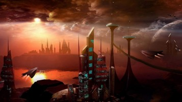 Space Ships & Futuristic City wallpapers and stock photos