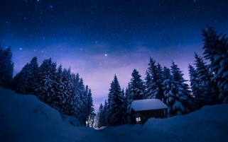 Estrellas Noche Nieve Forest House wallpapers and stock photos