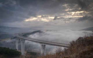High Bridge Clouds Scenic Fog wallpapers and stock photos