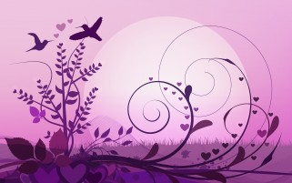 Abstract Floral & Birds Purple wallpapers and stock photos