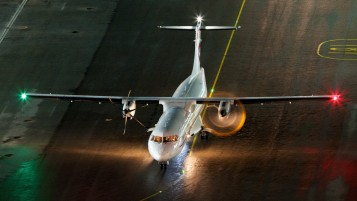 ATR-72 on Landing Strip wallpapers and stock photos