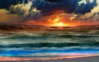 Clouds Sunset & Ocean Waves wallpapers and stock photos