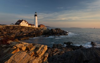 Light House Ocean Rocks Houses wallpapers and stock photos