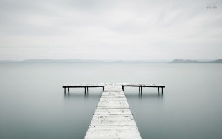 Dock On A Misty Lake wallpapers and stock photos