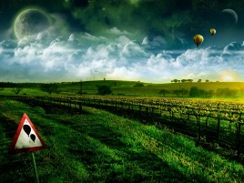 Hot Air Ballons Field & Sign wallpapers and stock photos