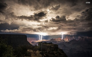 Lightning Strikes Grand Canyon wallpapers and stock photos