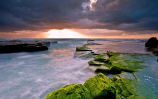 Ocean Rocks Moss Clouds wallpapers and stock photos