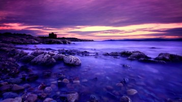 Purple Sunset Lake Stone Coast wallpapers and stock photos