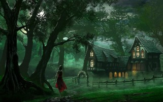 Woman Forest & House wallpapers and stock photos