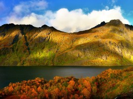 River Mountain & Autumn Forest wallpapers and stock photos