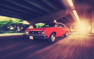 Red Vintage Chevy Speeding wallpapers and stock photos