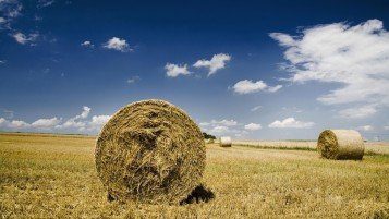 Hay Bales Field Sky Clouds wallpapers and stock photos