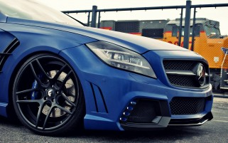 Blue Mercedes Benz CLS 63 AMG Section wallpapers and stock photos