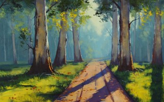 Random: Painting Forest Path Sunlight